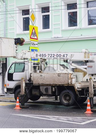 Moscow, Russia - October, 07, 2017: Moving lift on Polianka street in Moscow