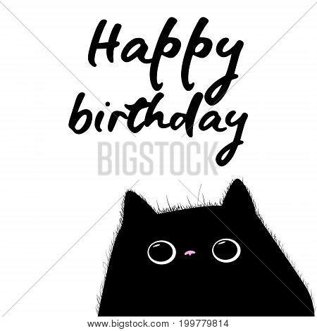 happy birthday card with black cat illustration vector