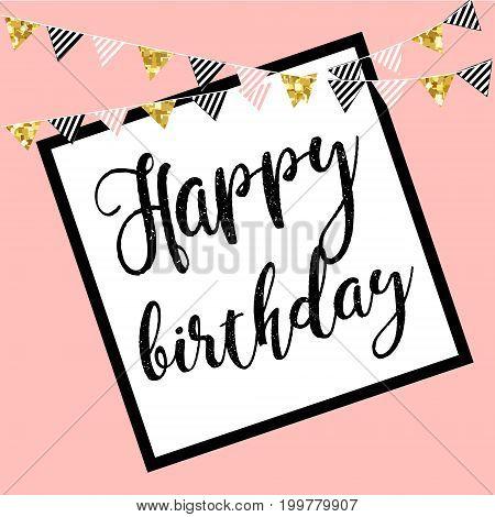 Vector illustration: Handwritten modern brush lettering of Happy Birthday on white background. Typography design. Greetings card.