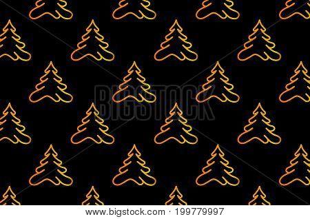 Coniferous tree - vector pattern , Golden tree on a black background