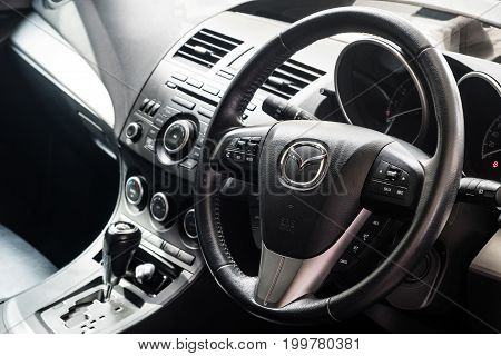 BANGKOK THAILAND - MAY 10 2017: Console interior of Mazda 3 model year 2013 They are popular of C-Segment vehicle in Thailand.