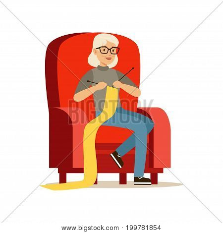 Beautiful senior woman sitting in the armchair and knitting colorful character vector Illustration isolated on a white background