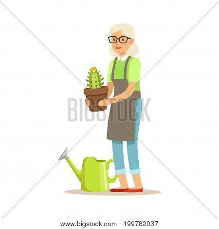 Active senior woman planting cactus in a pot colorful character vector Illustration isolated on a white background