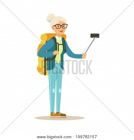 Active senior woman with backpack making selfie on smartphone colorful character vector Illustration isolated on a white background