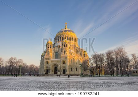 Naval cathedral in the evening, Kronshtadt, Saint Petersburg, Russia