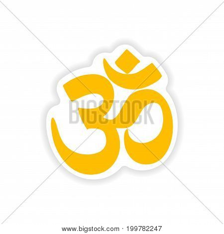paper sticker Indian om sign on white background