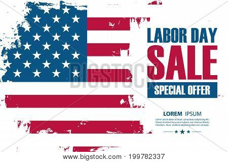 Labor Day Sale special offer banner with brush stroke background in United States national flag colors. Vector illustration.