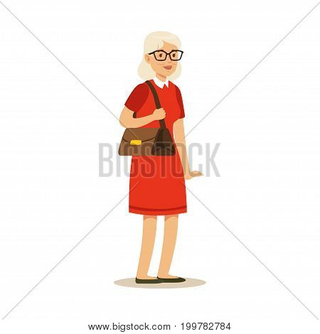 Beautiful senior woman in red dress colorful character vector Illustration isolated on a white background