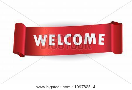 Welcome modern logo concept. Welcome text on realistic red ribbon banner. Welcome icon isolated with shadow Vector illustration minimal design.