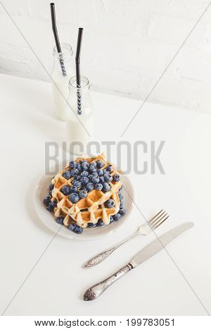 Healthy Breakfast Of Waffles With Blueberries And Milk