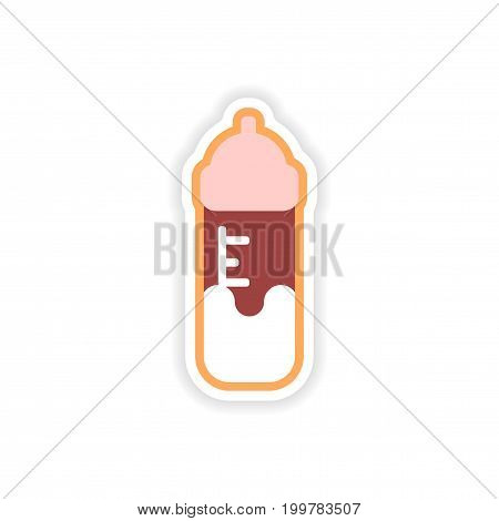 paper sticker baby bottle on white background