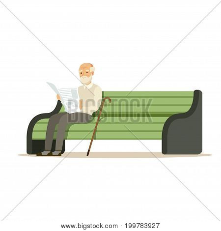 Grey senior man sitting on a wooden bench and reading book colorful character vector Illustration isolated on a white background
