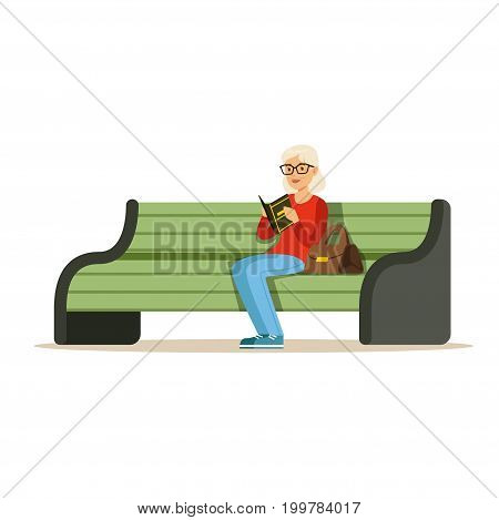 Beautiful senior woman sitting on a wooden bench and reading book colorful character vector Illustration isolated on a white background