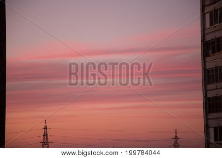 Background city highrise building industry electricity pylon