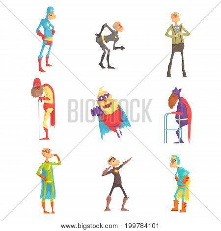 Funny elderly superman cartoon characters in action set of vector Illustrations isolated on white background