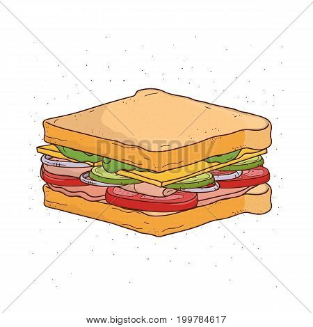 Sandwich with cheese, tomato, ham and salad. Colorful hand drawn vector illustration with sandwich on white background