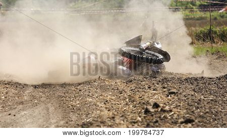 crash and Fall down of rider motocross