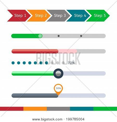 Progress bar set. Process download step by step. Loading status bar vector web indicator. Flat chart.
