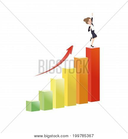 business woman growing increase a graph success growth vector