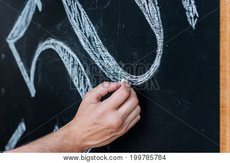 cropped shot of man writing 50% sale offer on chalkboard