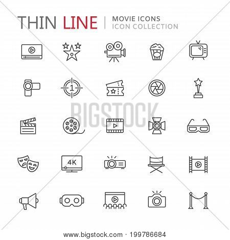 Collection of movie thin line icons. Vector eps10