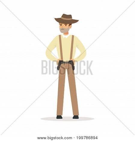 Mafia man character in brown fedora hat holding for two pistols under belt vector Illustration isolated on a white background