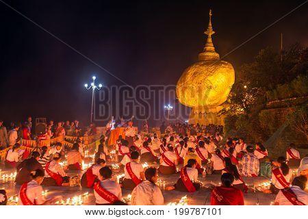 Kyaikhtiyo, Myanmar -October 15, 2016: Kyaiktiyo pagoda, Golden rock in Myanmar.