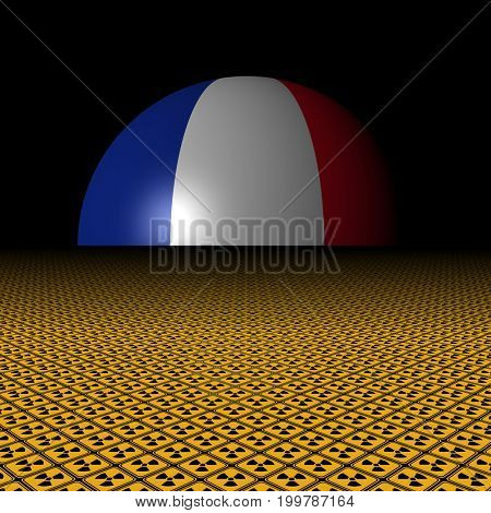 French flag sphere and radioactive warning signs 3d illustration