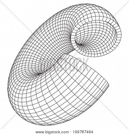 Abstract wireframe slice torus donut. Vector technology background. Connection design template.
