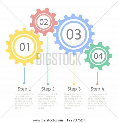 Progress statistic concept. Infographic template for presentation. Business flow process steps. Timeline statistical chart.