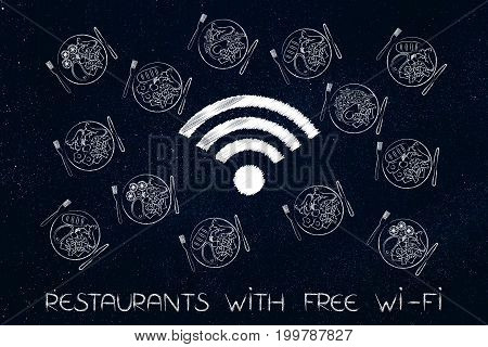 Wifi Symbol Surrounded By Plates With Different Recipes