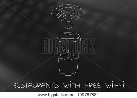 Wifi Symbol Above A Coffee Tumbler