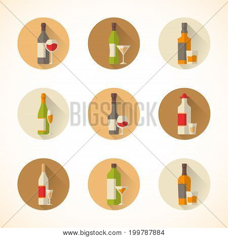 Set of vector alcohol icons in a flat design style