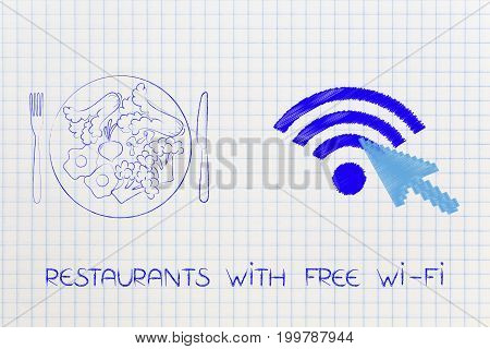 Recipe Plate Next To Wifi Symbol With Cursor Clicking On It