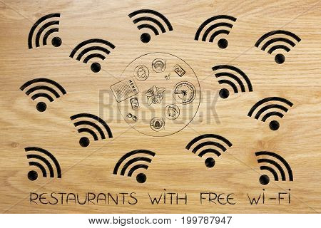 Wifi Symbols Surrounding Bar Table From Above With Coffee And Cake