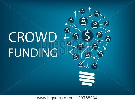 Crowd funding concept. Vector illustration background with light bulb and symbols.