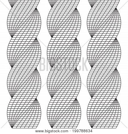 Wireframe Mesh Twist Columns Background. Connection Structure. Big Data Visualization Concept. Vector Illustration.