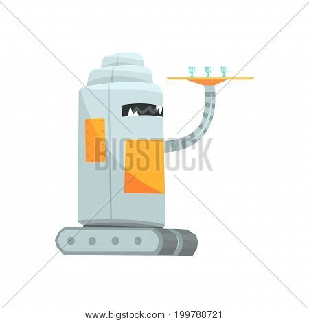 Cute cartoon robot waiter character with tray vector Illustration on a white background