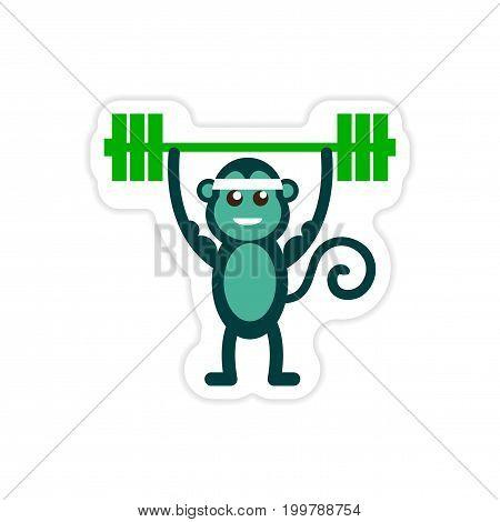 stylish paper sticker on white background monkey weightlifter