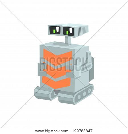 Cartoon crawler robot character vector Illustration on a white background
