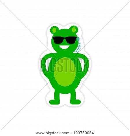 stylish paper sticker on white background bear security