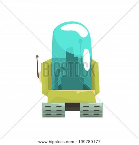 Cartoon robot crawler character with glass blue lense vector Illustration on a white background