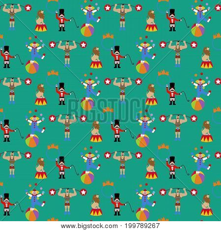 Circus pattern on the green background. Vector illustration