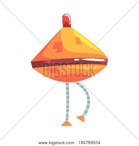 Cute cartoon orange robot cone with legs character vector Illustration on a white background
