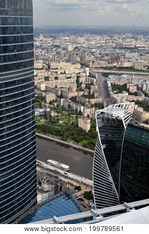 View from roof of  Moscow city scyscraper