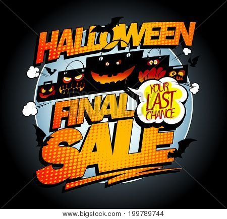 Halloween final sale banner concept with scary bags and bats, pop-art style concept, raster version