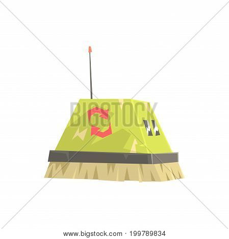 Cute cartoon robot brush cleaner character vector Illustration on a white background