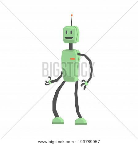 Cute cartoon robot android character vector Illustration on a white background