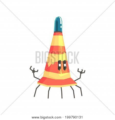 Cute cartoon robot traffic cone character vector Illustration on a white background