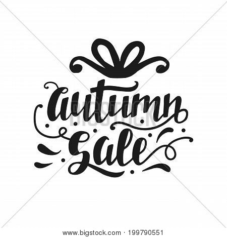 Autumn Sale banner with cute unique hand lettering. Advertisement placard, promo, flyer. Promotional design for online store, web site. Modern calligraphy